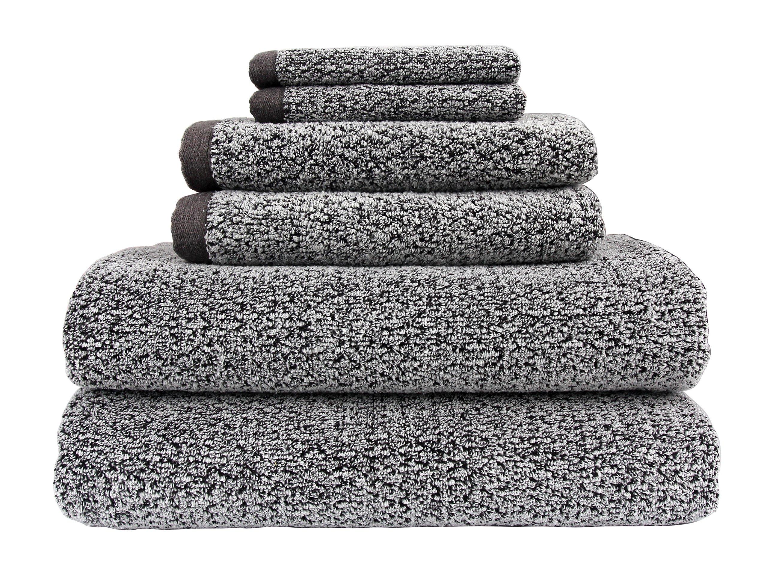 Everplush Diamond Jacquard Bath Towel 6 Piece Value Pack in Grey