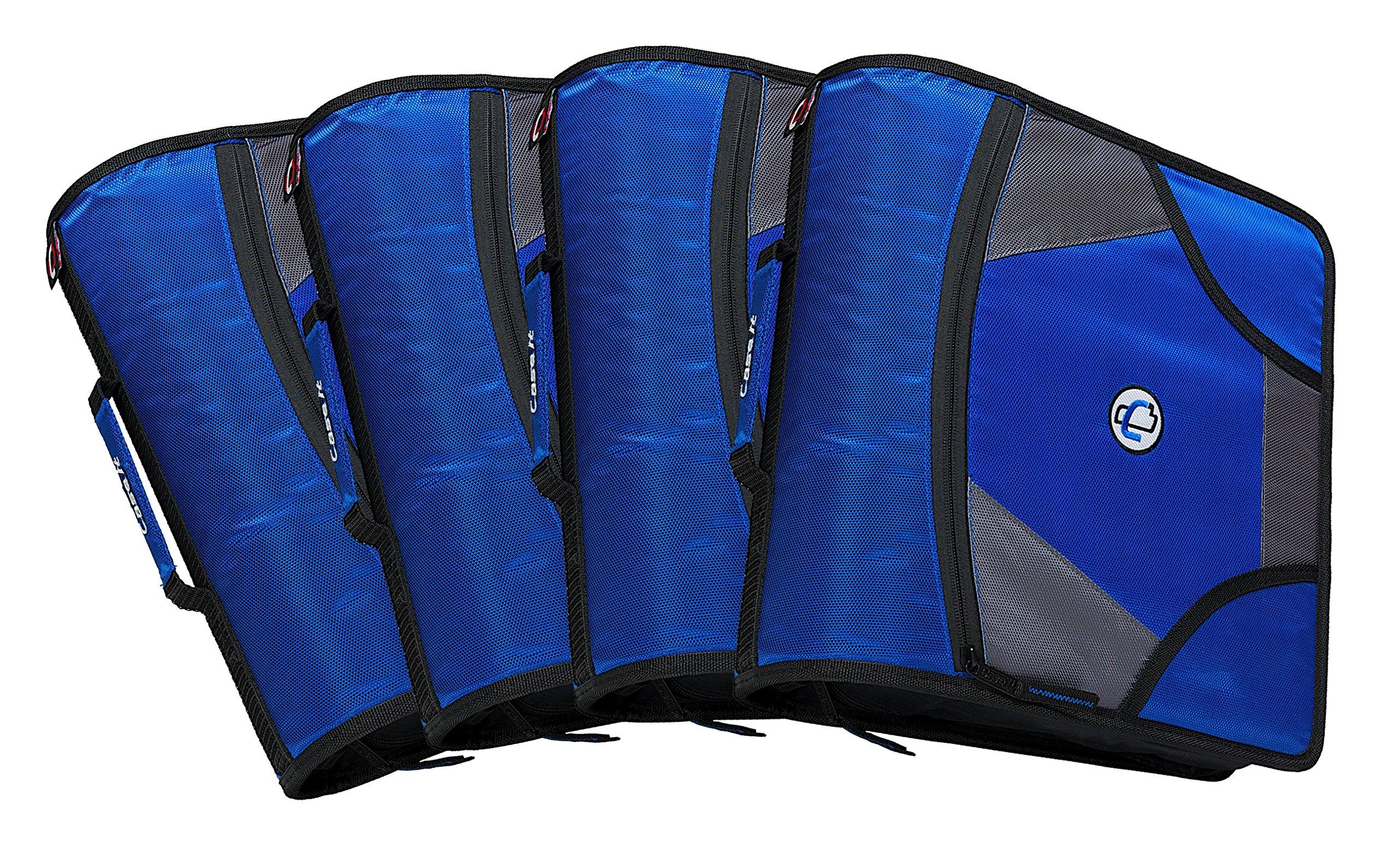 Case-it King Sized Zip Tab 4-Inch D-Ring Zipper Binder with 5-Tab File Folder, Blue, Case of 4 (D-186-C-BLU)