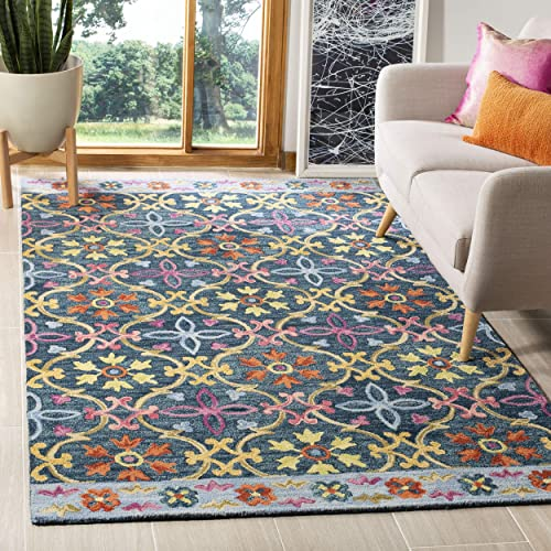 Safavieh Suzani Collection SZN310A Hand-Hooked Blue and Multi Wool Area Rug 8 x 10