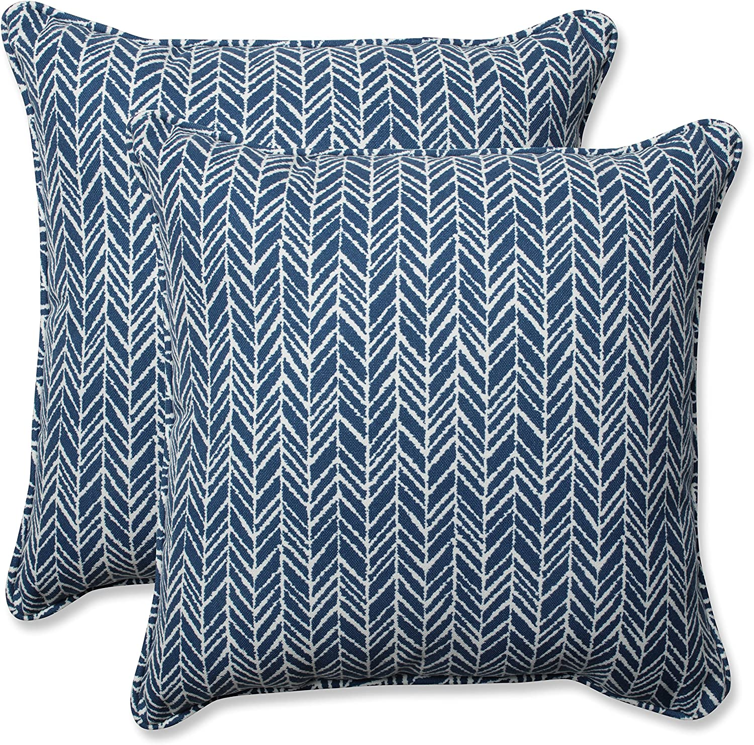 "Pillow Perfect Outdoor/Indoor Herringbone Ink Throw Pillows, 18.5"" x 18.5"", Blue, 2 Count"