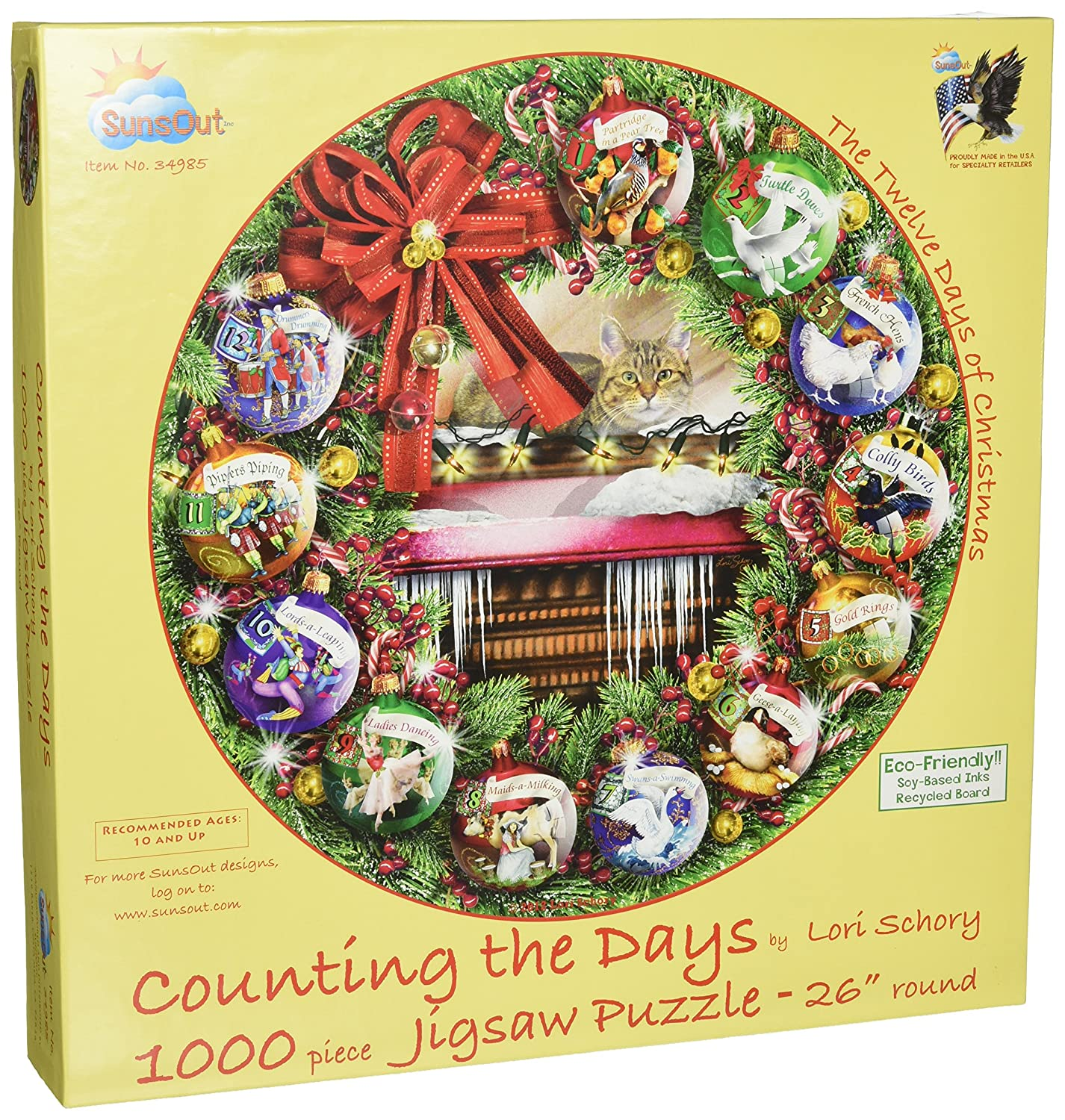 SunsOut 34985 1000 Piece Counting the Days (The 12 Days of Christmas) Art and Craft Product