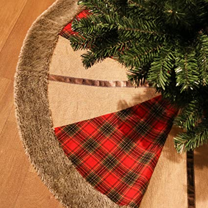 valery madelyn 48 trendy red and black tartan christmas tree skirt themed with christmas