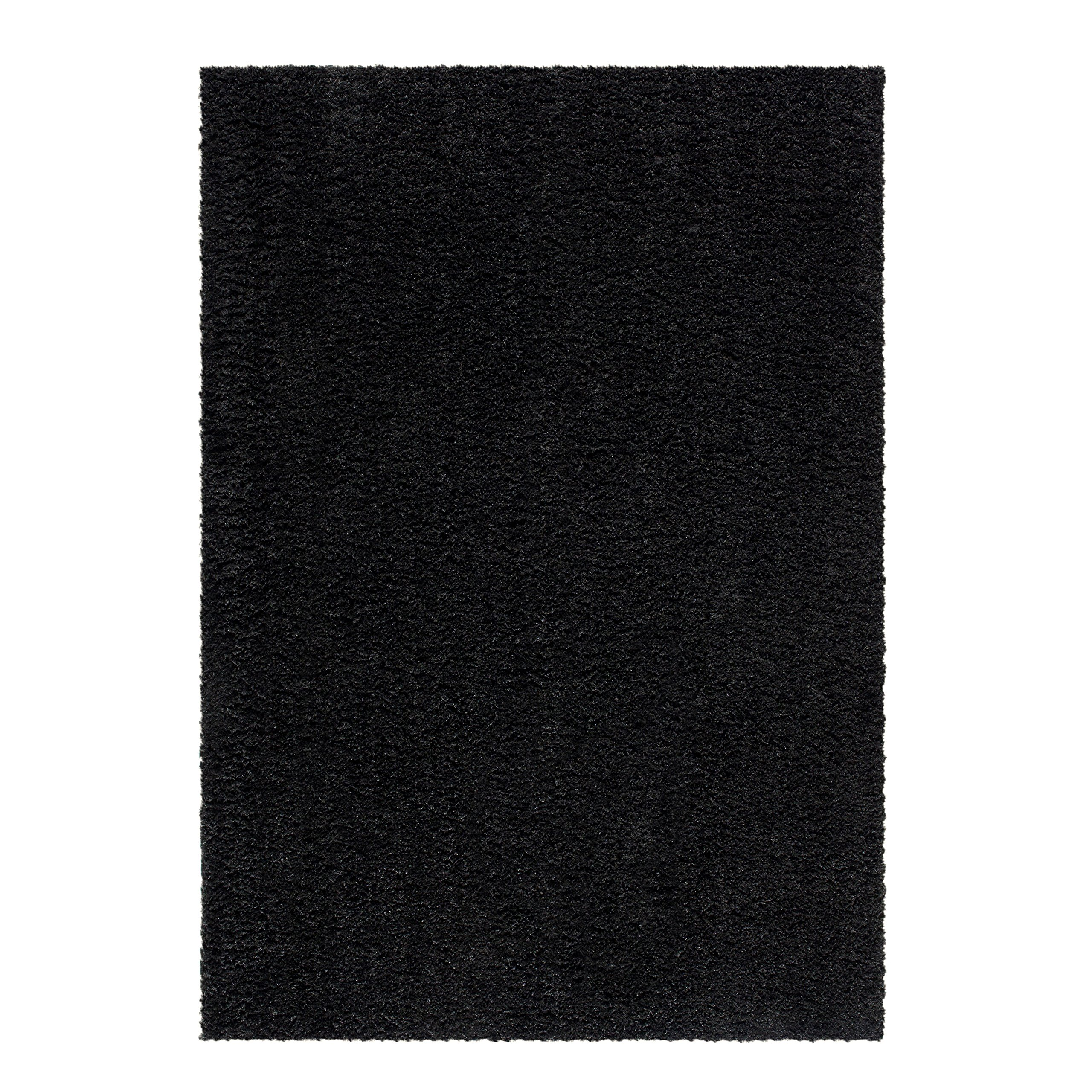 Maples Rugs Area Rugs, [Made in USA][Catriona] 7' x 10' Non Slip Padded Large Rug for Living Room, Bedroom, and Dining Room - Rich Black