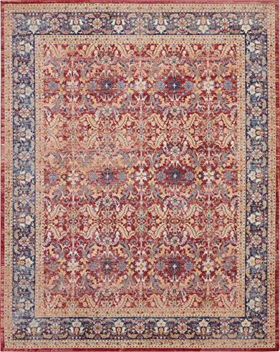 Nourison Global Vintage Red and Blue Multicolor Persian Area Rug 8'10″ x 11'10″