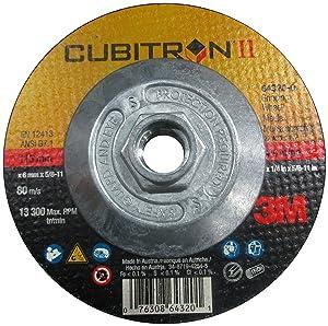 """3M Cubitron II Depressed Center Grinding Wheel T27 Quick Change, Precision Shaped Ceramic Grain, 13300 RPM, 4-1/2"""" Diameter x 1/4"""" Thick, 5/8""""-11 Arbor, 36+ Grade (Pack of 1)"""