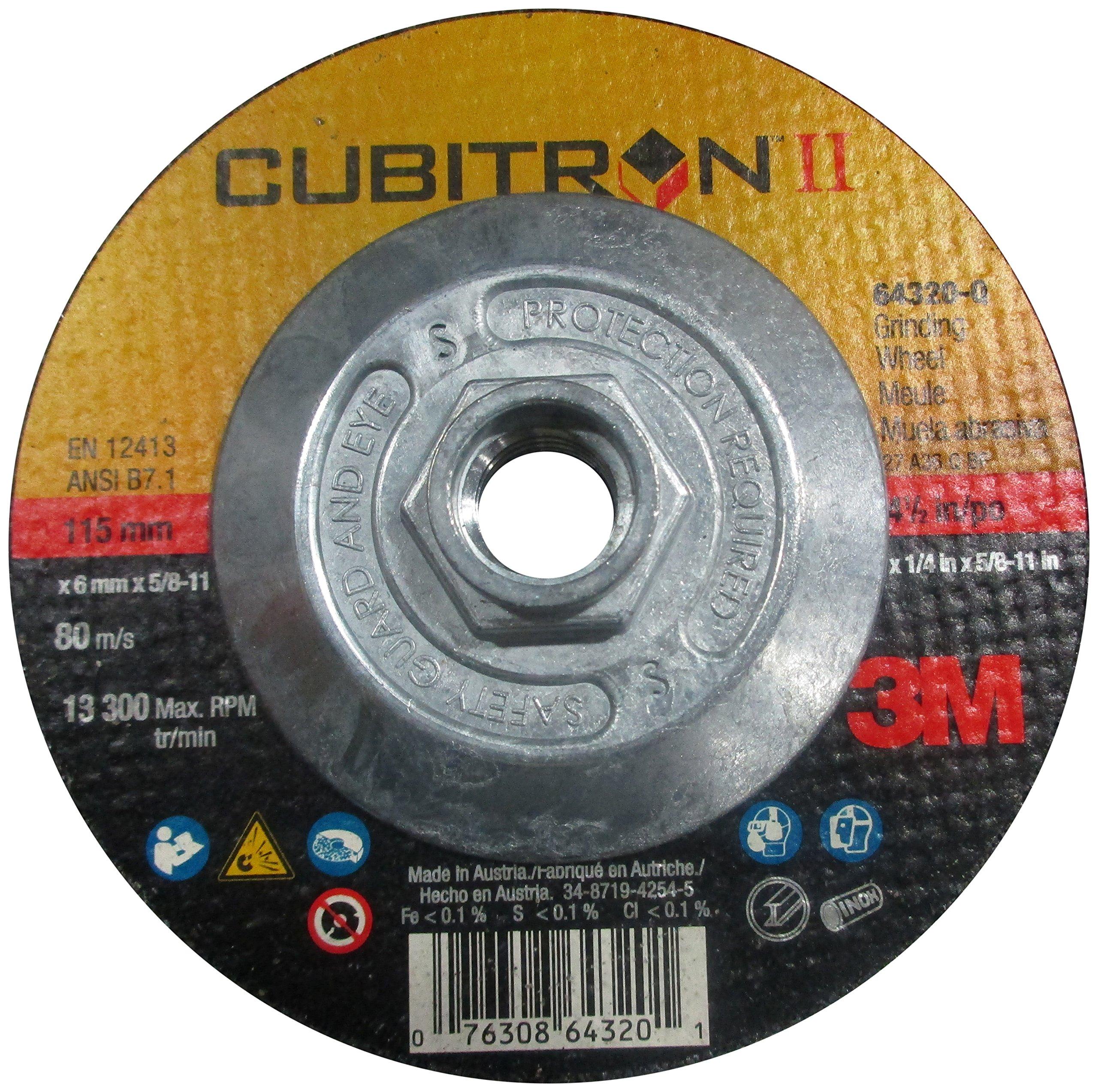 12250 RPM 5 Diameter x 1//4 Thick Pack of 1 36+ Grade Precision Shaped Ceramic Grain 3M Cubitron II Depressed Center Grinding Wheel T27 Quick Change 5//8-11 Arbor