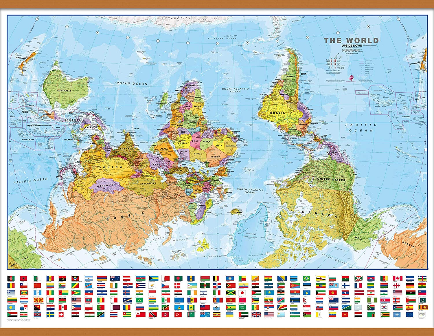 Upside Down Map Of The World Amazon.: Maps International Large Upside Down Political World