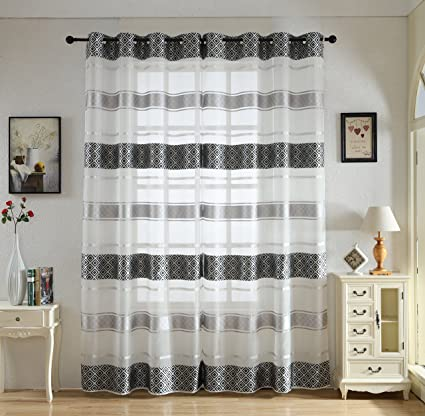 Attractive Merrylife Decorative Stylish Sheer Curtains With Grommets | 2 Panels ,  Flowy Style | Colorful,