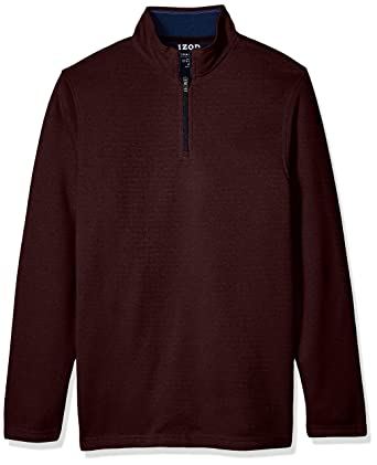 Izod Mens Big And Tall Saltwater Solid   Zip Sweater Fig Heather