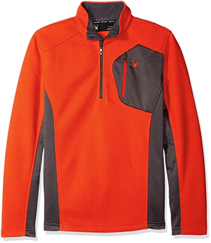 Spyder Men's Bandit Half Zip Light Weight Stryke Fleece, Rage/Polar/Formula,
