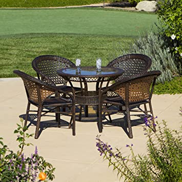 malibu patio furniture outdoor wicker patio dining set 5 piecebrown