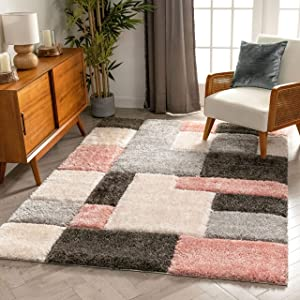 """Well Woven Ella Pink Geometric Boxes Thick Soft Plush 3D Textured Shag Area Rug 5x7 (5'3"""" x 7'3"""")"""