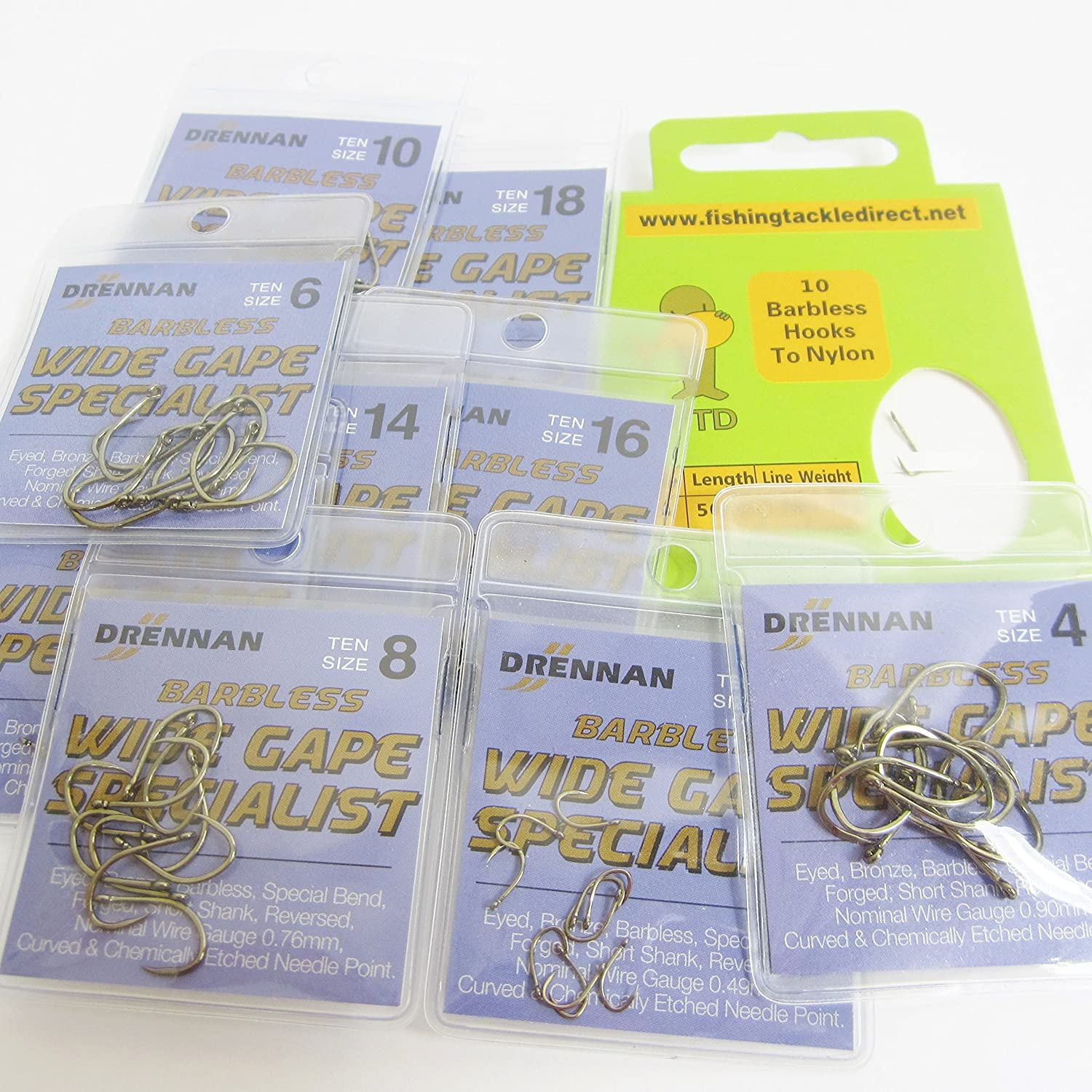 FTD Comes with 10 FTD Barbless Hooks to Nylon EYED Single Size /& Combination Fishing Hooks Sizes 4 to 18 BARBLESS 3 packs of 10 Min 30 DRENNAN WIDE GAPE SPECIALIST