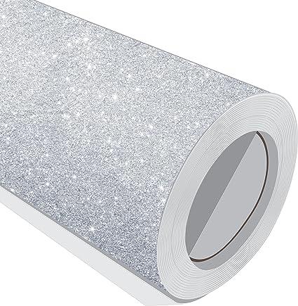 1 Metre (1 m) rollo de purpurina plata 610 mm de ancho Vinilo autoadhesivo: Amazon.es: Hogar
