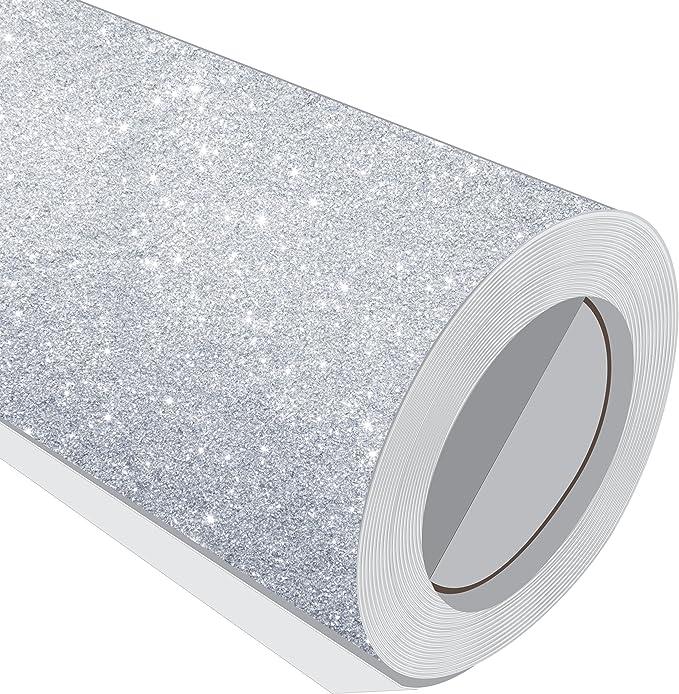 1 Metre (1 m) rollo de purpurina plata 610 mm de ancho Vinilo ...