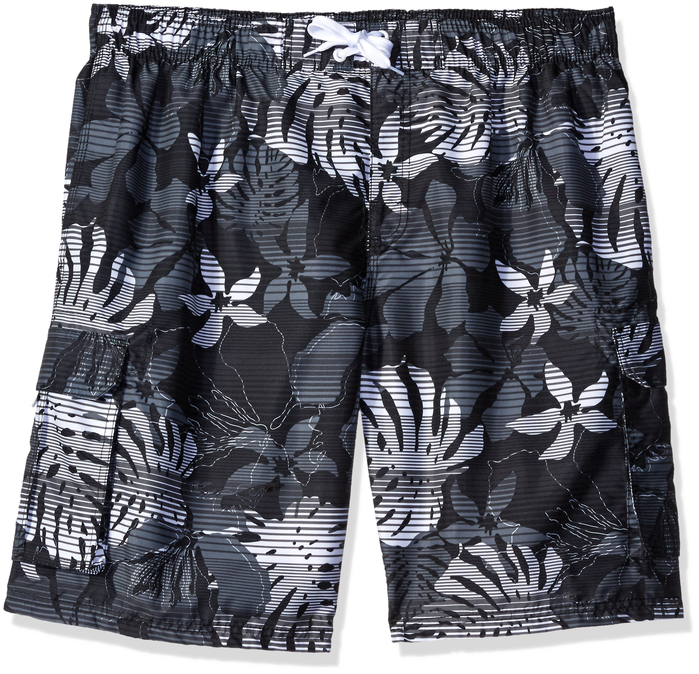 Kanu Surf Men's Barracuda Swim Trunks (Regular & Extended Sizes), Paradise Black, 3X