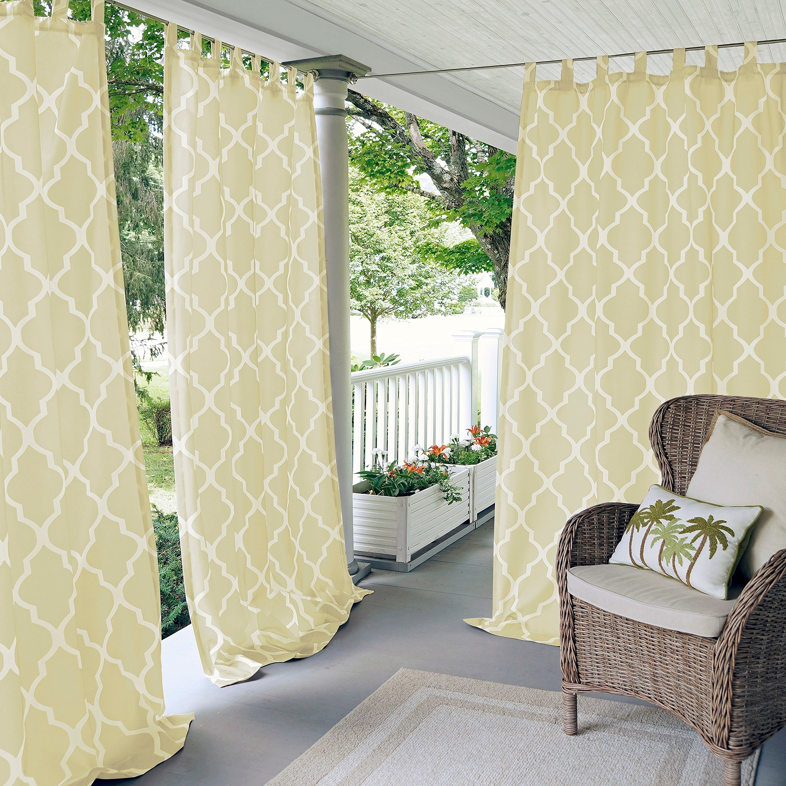 N&T 1 Piece Ivory Trellis Gazebo Curtain Panel 95 Inch, Cream Moroccan Print Outdoor Curtain Water Resistant for Patio Porch, Light Filtering Indoor/Outdoor Curtain Pergola Sunroom Tab Top, Polyester