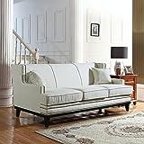 Classic Traditional Linen Sofa w/ Nailhead Trim (Beige)