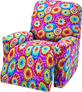 Madison JER-LGRECL-TD Stretch Jersey Recliner Slipcover, Large, Geometric, Tie Dye
