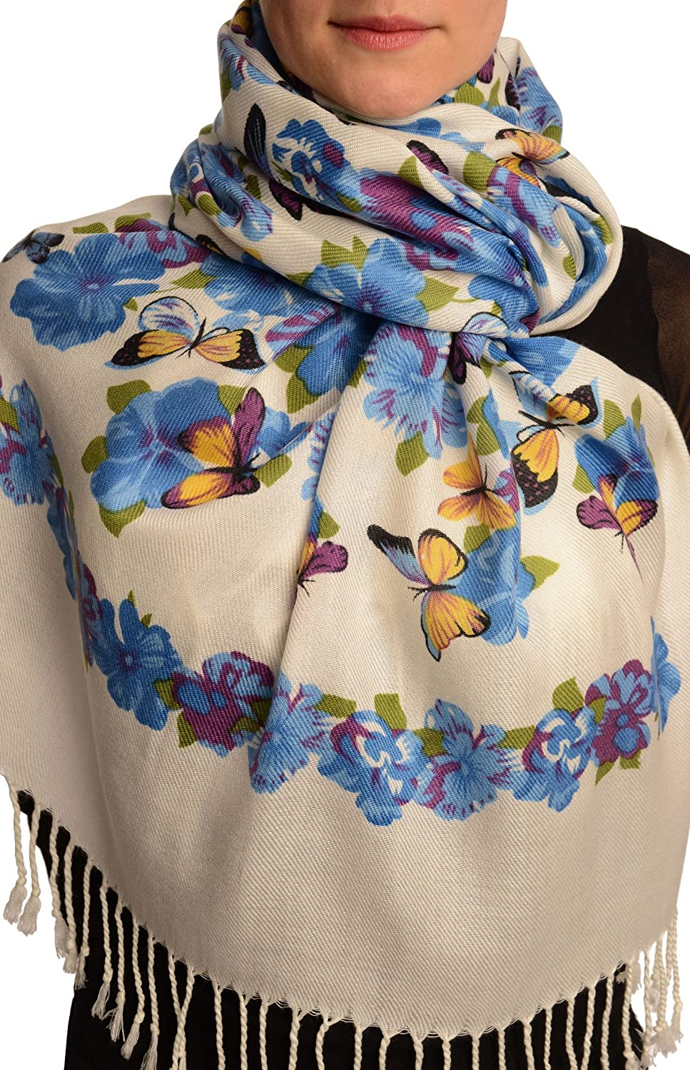 Blue Butterflies & Flowers On White Pashmina Feel With Tassels - Scarf