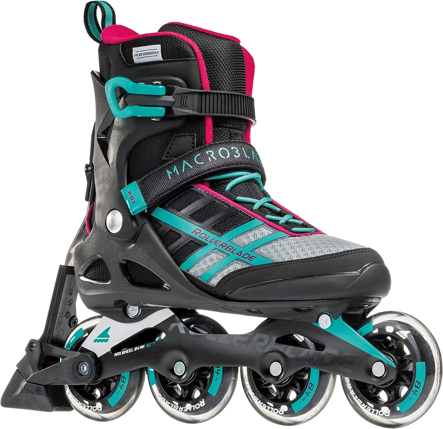 Rollerblade Macroblade 84 ABT Women s Adult Fitness Inline Skate, Emerald Green and Cherry, Performance Inline Skates