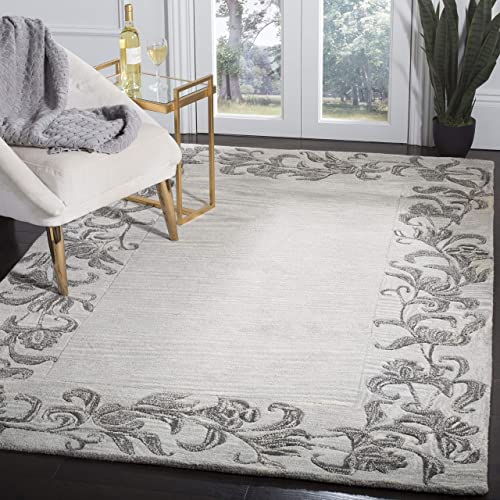 Safavieh Soho Collection SOH773A Handmade Silver and Grey Premium Wool Area Rug 7 6 x 9 6