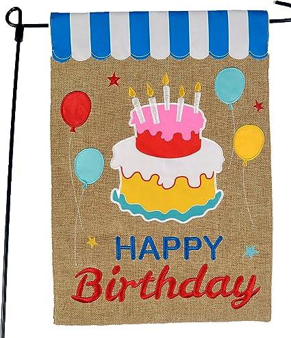 Amazon Com Happy Birthday Garden Flag Or Car Decoration Happy Birthday Cake And Balloons With Awning On Burlap 12x18 Home Garden Flag Garden Outdoor
