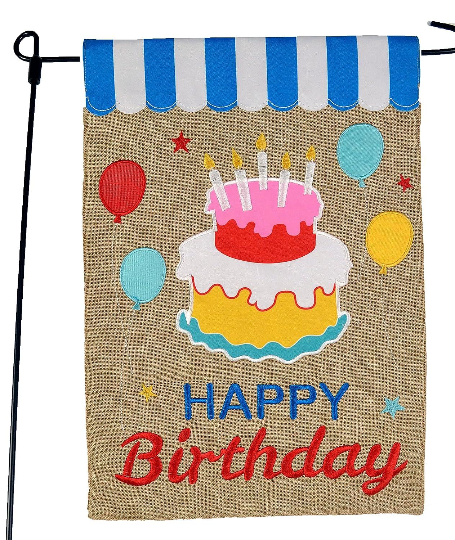 Happy Birthday Garden Flag or Car Decoration - Happy Birthday Cake and Balloons On Burlap - 12x18 - Home Garden Flag
