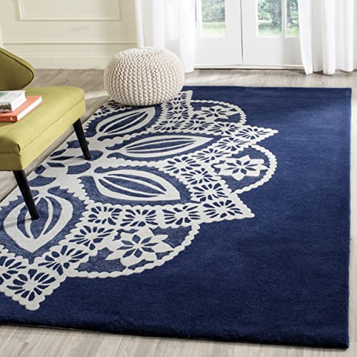 Safavieh Allure Collection ALR122A Handmade Navy and Ivory Premium Wool Area Rug 5 x 8