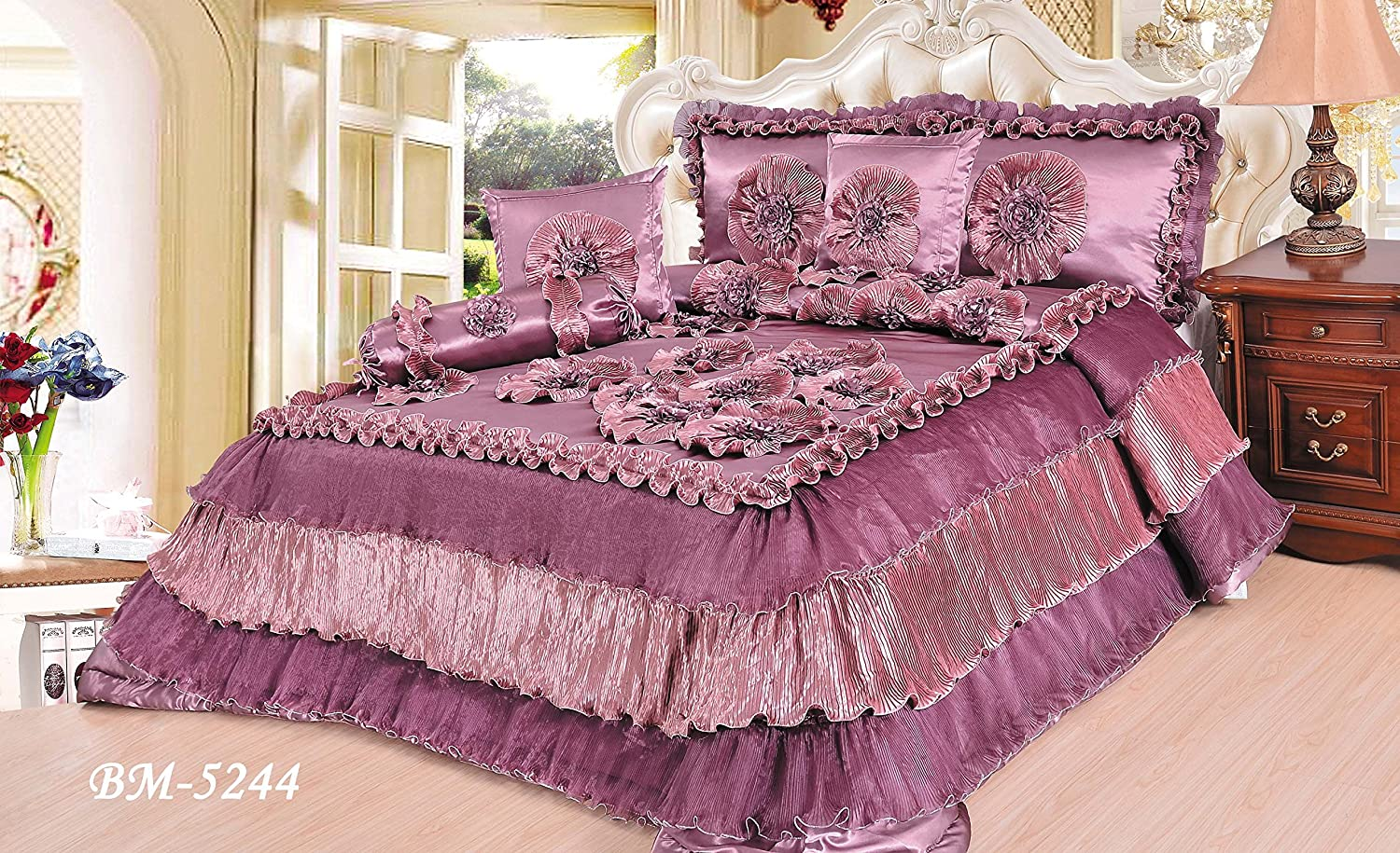 Tache 6 Pieces Romantic Mauve Passion Ruffle Comforter Quilt Set, King Size