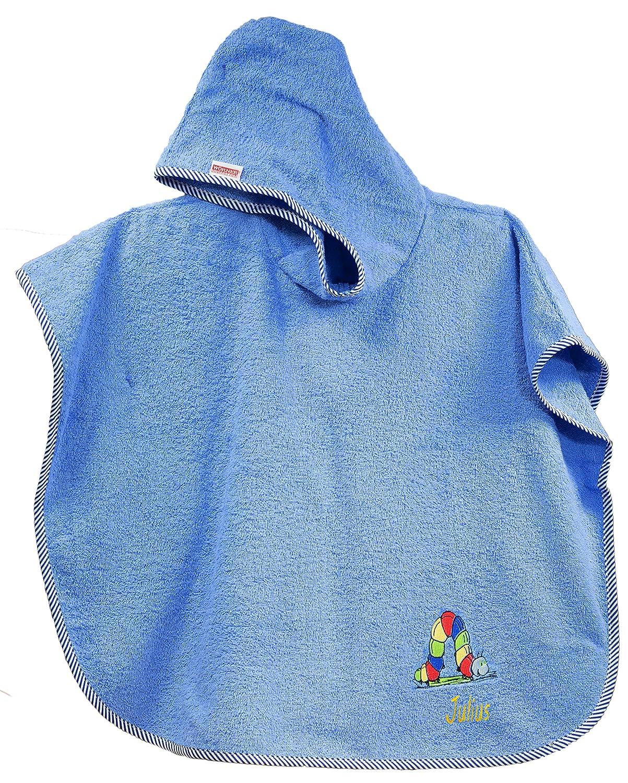 Feiner-Tropfen Babyhandtuch mit Kapuze Junge 75 x120 cm gro/ß L/ätzchen Raupe