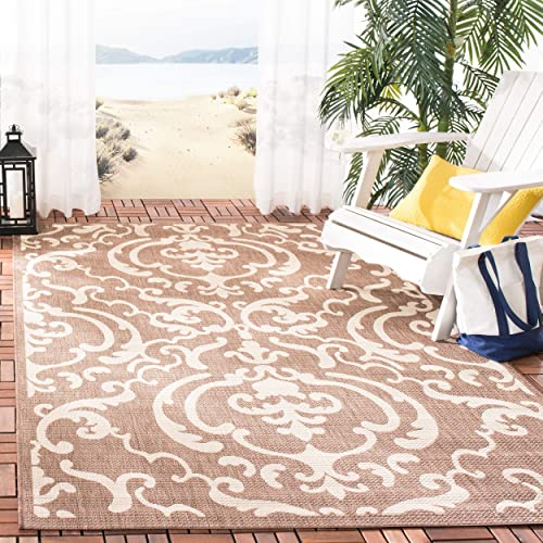 Safavieh Courtyard Collection CY2663-3409 Chocolate and Natural Indoor Outdoor Area Rug, 9 feet by 12 feet 9 x 12
