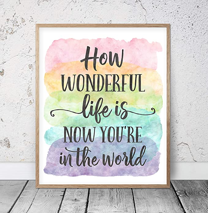 """How Wonderful Life is Now Youre in The World Sign Nursery Room Decor How Wonderful Life is Sign Nursery Sign Crib Sign 12 X 22/"""" Wood Sign Framed Wooden Sign"""