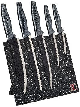 Imperial Collection IM-MGN5-CB Stainless Steel Knife Set with Magnetic Knife Block Featuring Embossed Blades with Non-Stick Coating, Ergonomic Soft ...