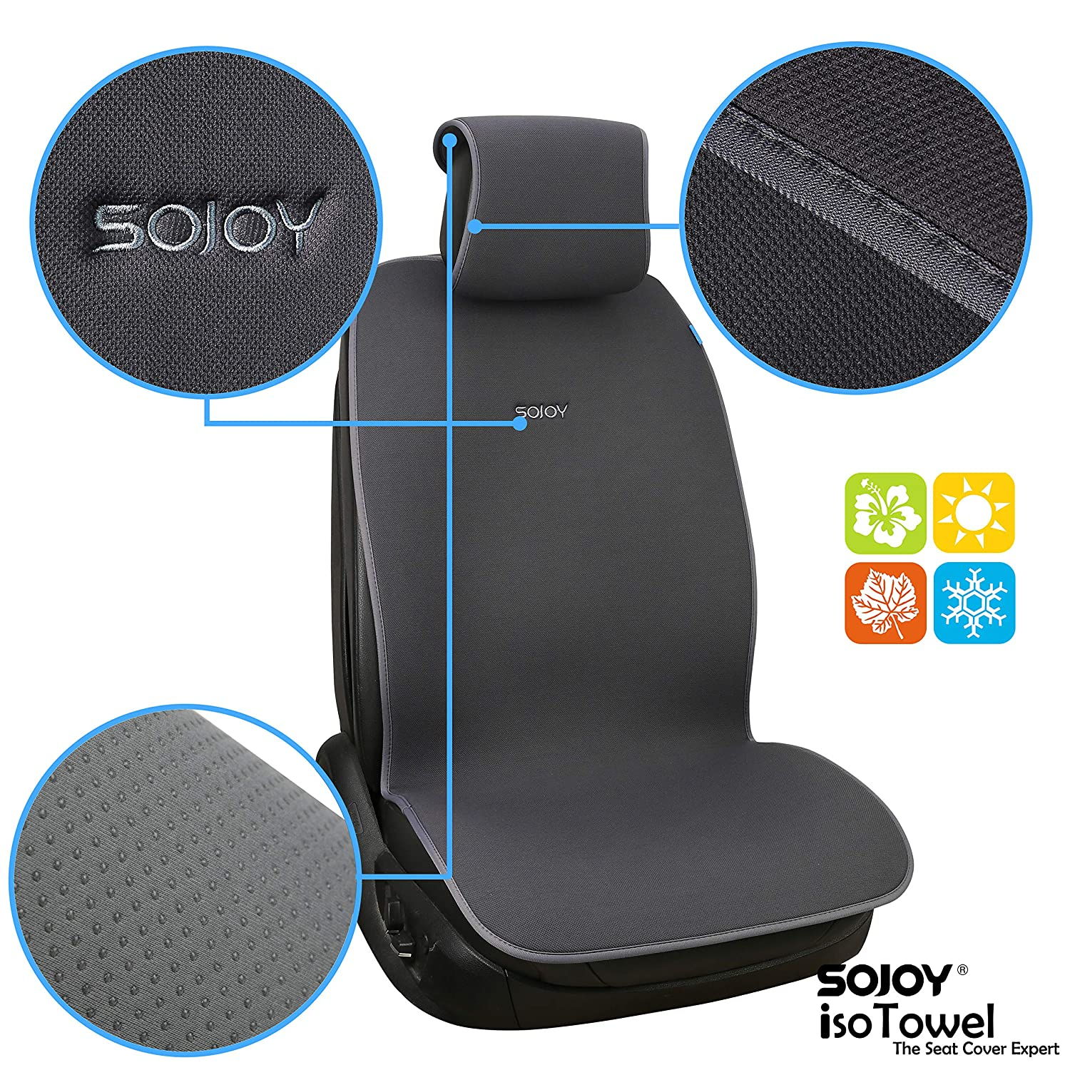 Dark Gray Sojoy Universal Four Seasons Full Set of Car Seat Cover and Cushions