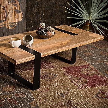 Native Home Table De Salon Bois Massif Rectangle Pieds Metal