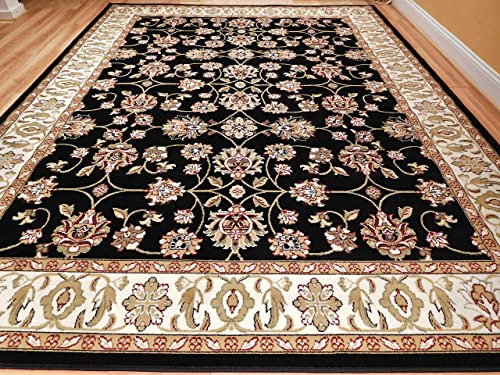 New Traditional Rugs All-Over Pattern Area Rugs 8×10 Under 100 Black Cream Beige Green Persian Rug