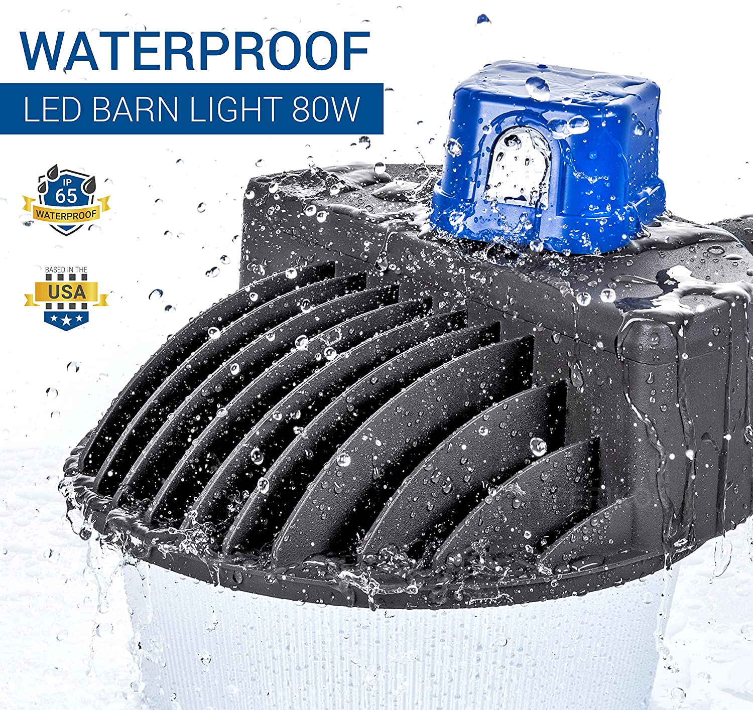 Bright Security area flood light for yard and garden 5000K Crystal White 8000 Lumens Waterproof 80W Hyperikon Outdoor LED Barn Light Dusk to Dawn with Photocell 400W Equivalent