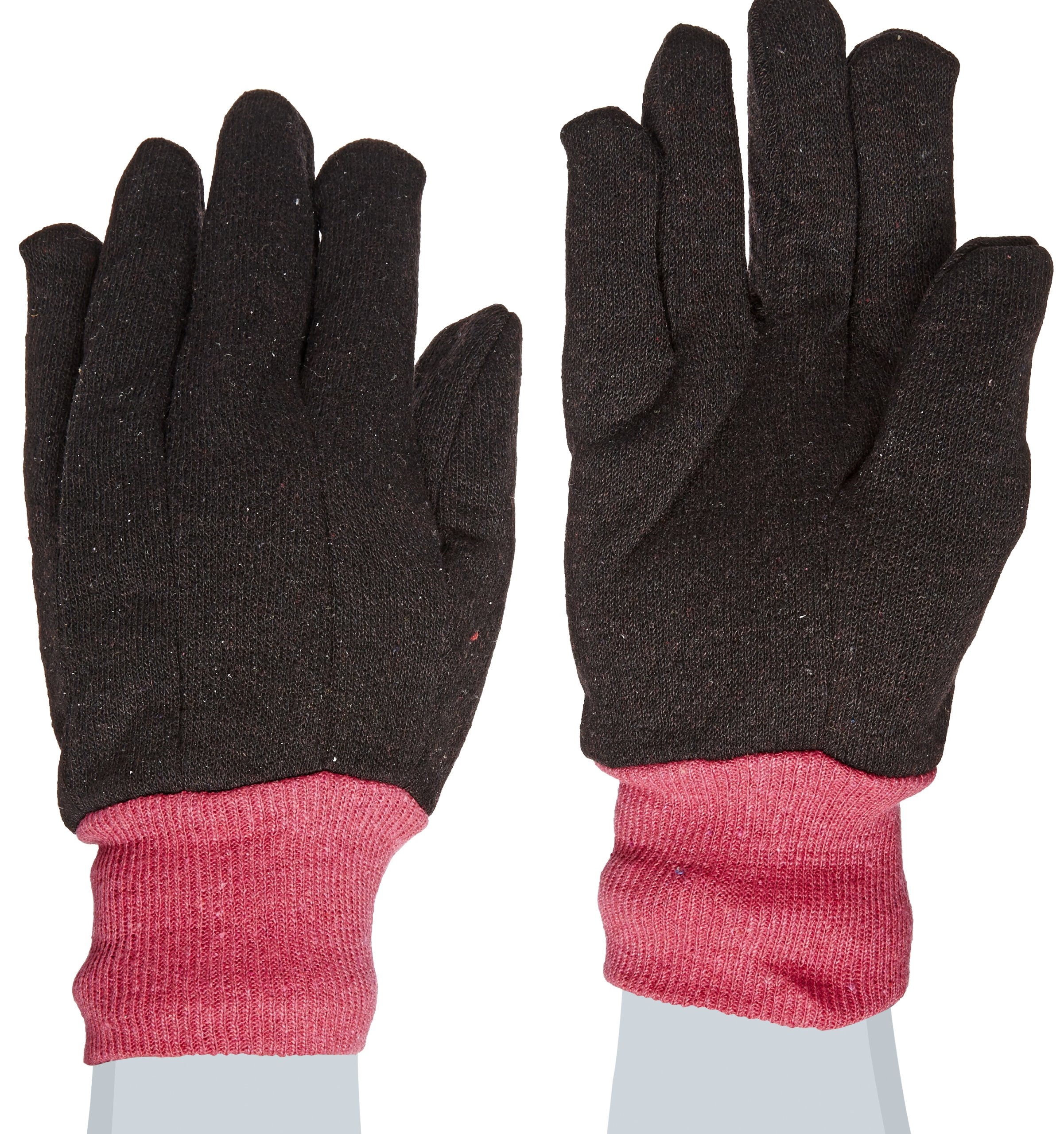 West Chester 69090 Polyester Cotton All Purpose Jersey Glove with Red Fleece Lining, Work, Knit Wrist Cuff, 9-5 8'' Length, Women's, Brown (Pack of 1 Pair)