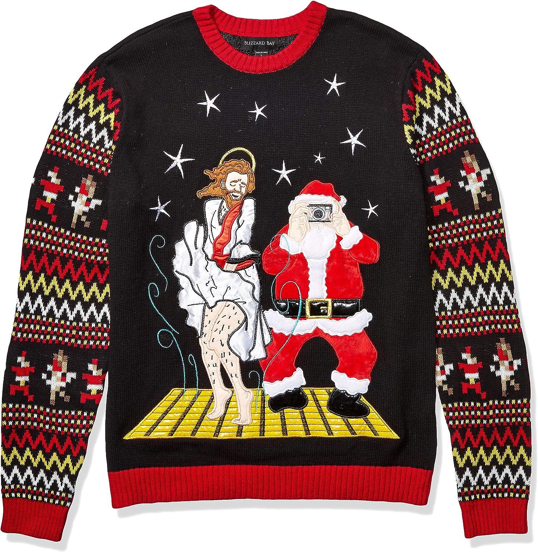Black Large Blizzard Bay Mens Ugly Christmas Sweater Santa