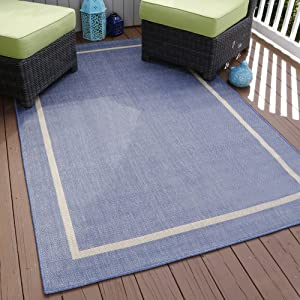 "Lavish Home Border Indoor/Outdoor Area Rug, 5' x 7'7"", Blue"