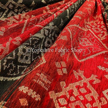 Multicoloured Orange Red Kilim Patchwork Pattern Velour Velvet Upholstery Fabric