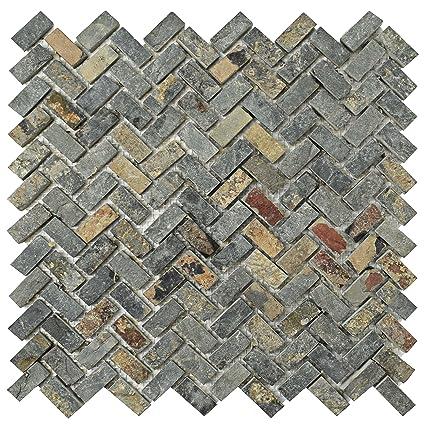 Somertile Scrhrss Cliff Herringbone Sunset Slate Natural Stone