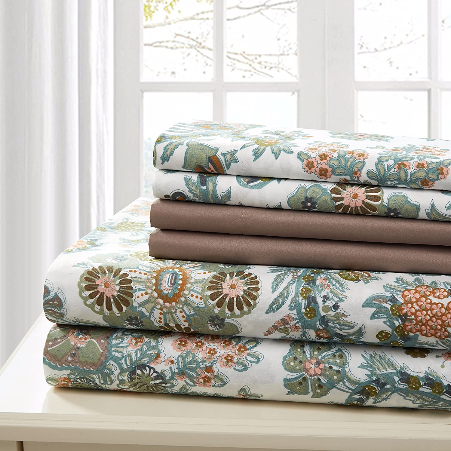 Traditional Home Sheet Set Cotton Percale 6 Piece Print Twin Full Queen King Soft (Brown Flower, Queen)
