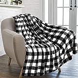 PAVILIA Flannel Fleece Throw Blanket for Sofa Couch | Super Soft Velvet Plaid Pattern Checkered Decorative Throw | Warm Cozy Lightweight Microfiber | 50 x 60 Inches Plaid White/Black