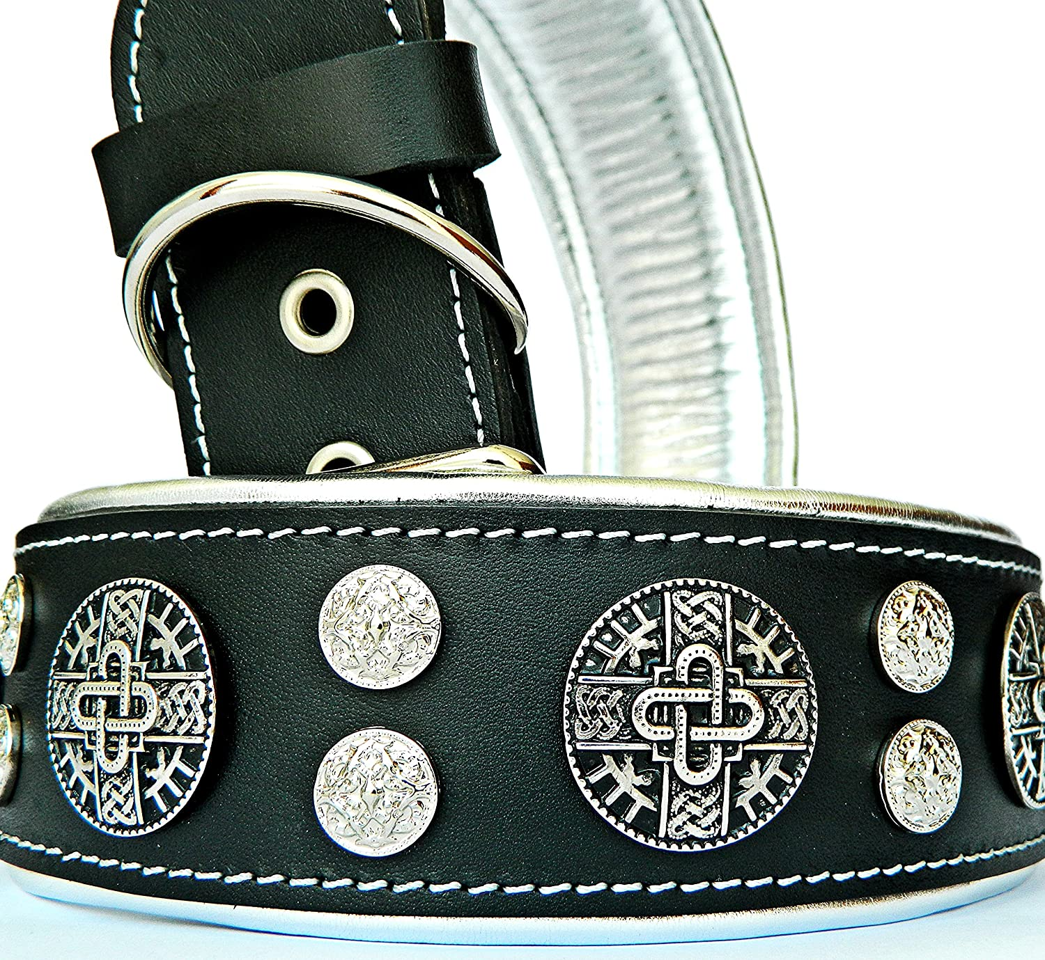 XL- fits a neck of 22.6- 26.6 inch Bestia Hektor  Genuine Leather Dog Collar, Large Breeds, Cane Corso, redtweiler, Boxer, Bullmastiff, Dogo, 100% Leather, Studded, L- XXL Size, 2.5 Inch Wide. Padded. Europe`s Fnest Dog Gear