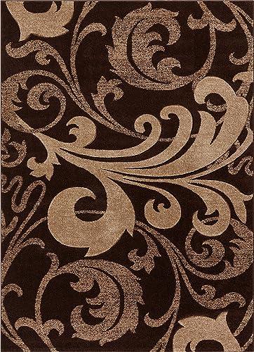 Well Woven Leslie Fleur De Lis Brown Scrolls Modern Ruby 5'3'' X 7'3' Plush Area Rug 60068