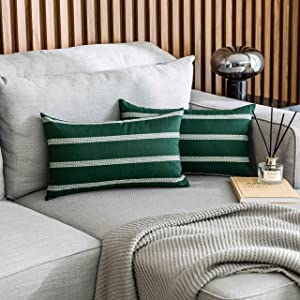 Home Brilliant Set of 2 Striped Decorative Throw Pillow Covers Modern Farmhouse Decor Retangle Cushion Covers for Couch, Pillow Covers 12 x 20 inches(30x50cm), Dark Green