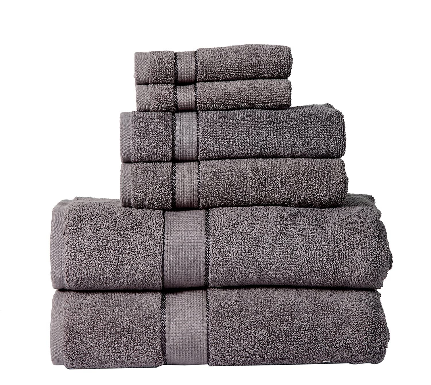 600 GSM Ultra Soft 100% Cotton 6 Piece Towel Set (Platinum Grey): 2 Bath Towels, 2 Hand Towels, 2 Washcloths, Long-staple Cotton, Spa Hotel Quality, Super Absorbent, Machine Washable Panache Collection