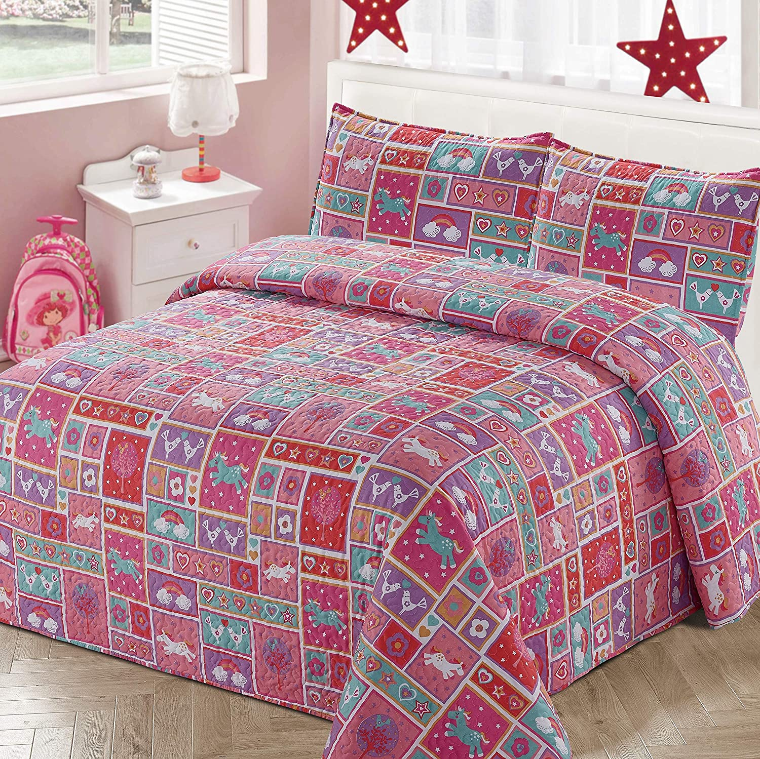Kids Zone Home Linen 2pc Twin Bedspread Coverlet Quilt Set for Girls Pink Red Purple Squares Unicorns Birds Hearts Rainbow Stars